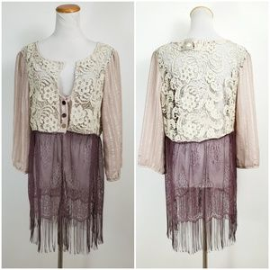 Gimmicks BKE XL Blouse Boho Crochet Lace Fringe
